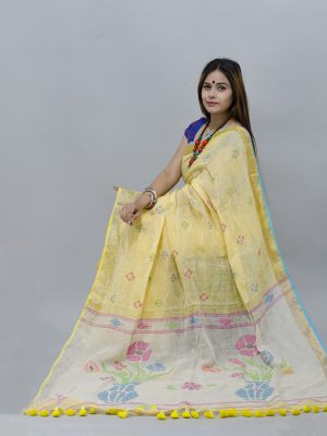 Bright, pure yellow  jamdani woven pallu linen saree