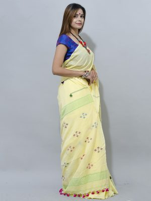 ilemon yellow jamdani saree