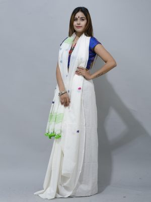 amazing Combination of  pure white and green buti cotton saree