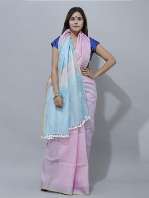 baby pink and Oceanic Blue zari border linen saree