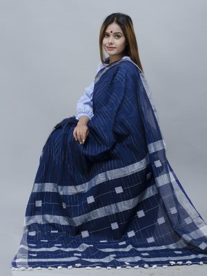 Sapphire blue Khadi saree with sky blue