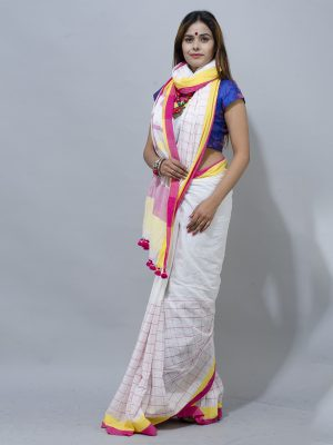 white half check khadiKhadi Soft Cotton half check Saree with Ganga Jamuna Border in , Red and yello...