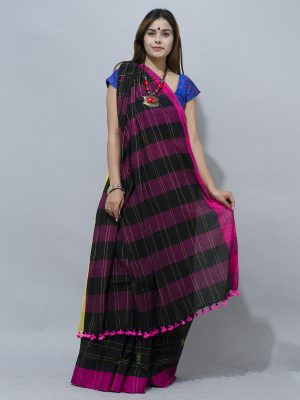 elegent all time favourite  black khadi with dark pink border and strips saree