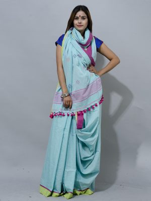 arctic blue jamdani with hot pink border and pompom saree