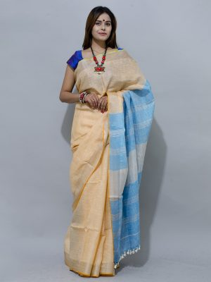 mesmerizing combination of light orange and sky blue linen saree with defined silver border