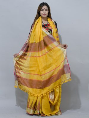gold yellow linen saree with Jacquard woven patern along with silver border.J