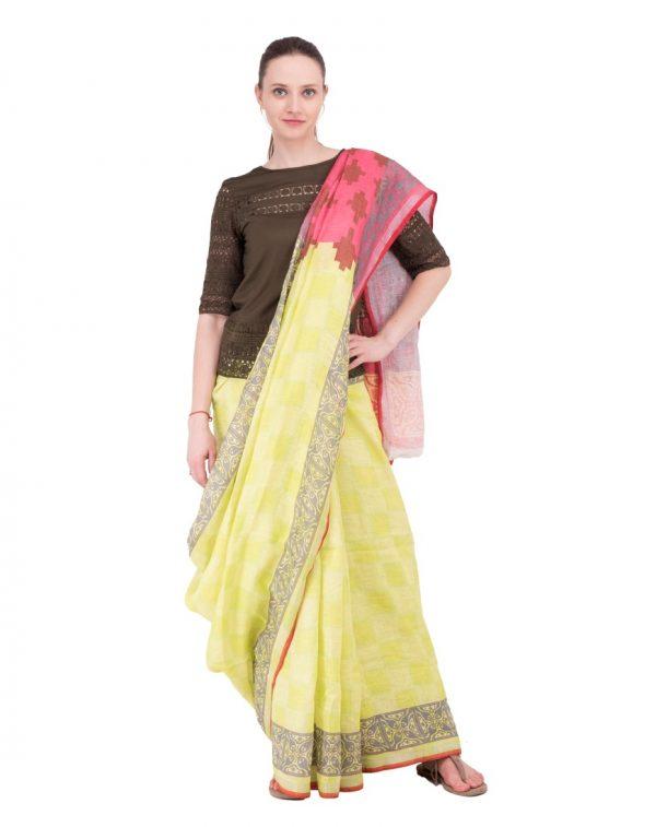 Yellow Print Linen Saree