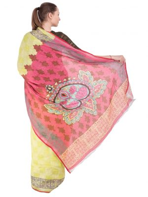 Yellow Print Linen Saree