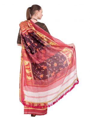 Brown Print Linen Saree