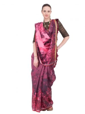 Purple Print Linen Saree