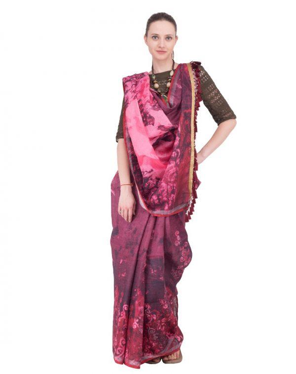 Purple Print Linen Saree