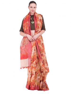 Brown Print Linen Saree