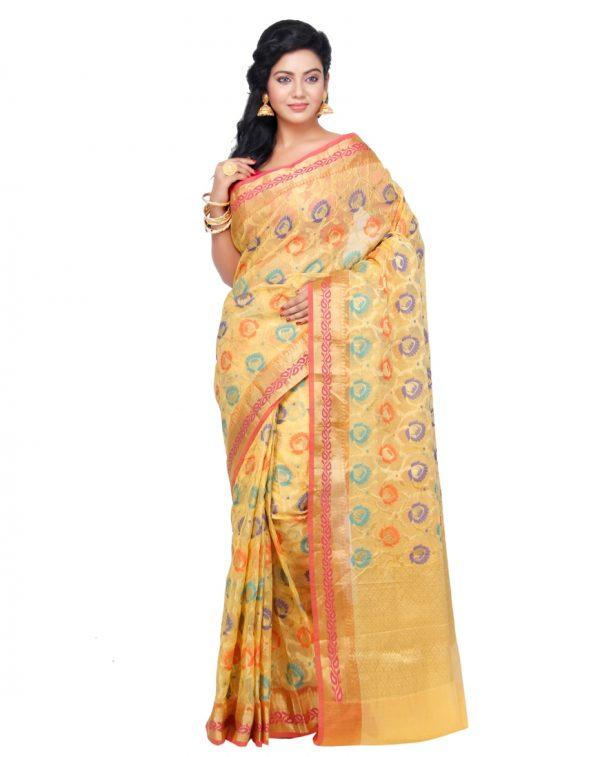 Gold Moonga Check Fancy Banarasi Saree