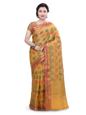Moonga Check Fancy Banarasi Multi Saree
