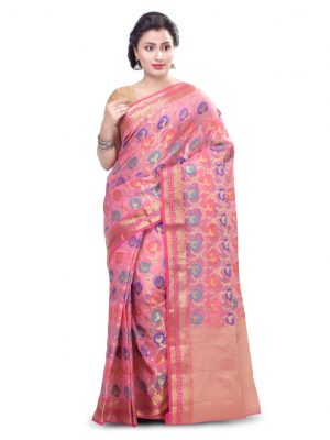 Pink Moonga Check Fancy Banarasi Multi Saree