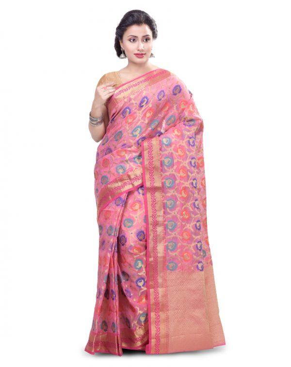 Pink Moonga Check Fancy Banarasi Multi Saree