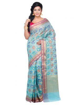 Sky Blue Moonga Check Fancy Banarasi Saree