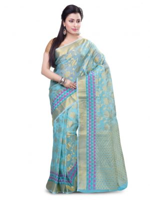 Sky Blue Moonga Check Fancy Banarasi Zariwork Saree