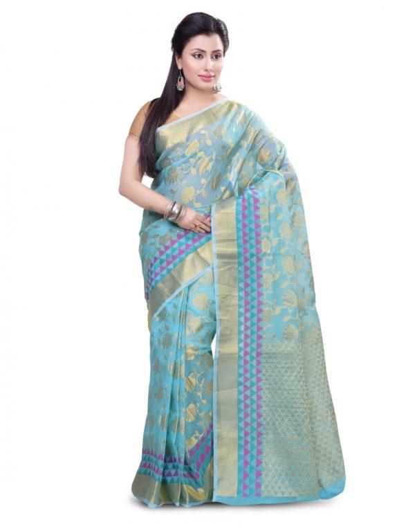 Sky Blue Moonga Check Fancy Banarasi Zariwork Saree
