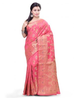 Pink Chanderi Cotton Fancy Multi Banarasi Saree