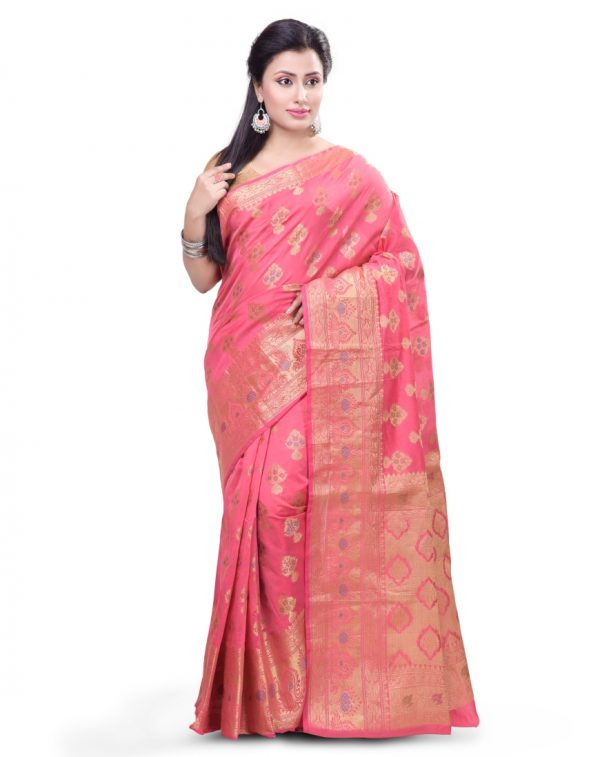 Pink Chanderi Cotton Fancy Multi Banarasi Saree