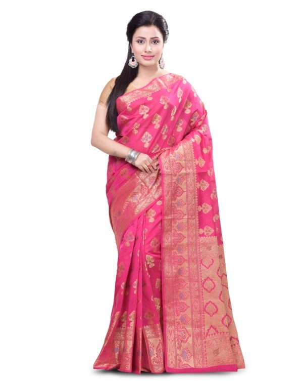 Rani Pink Chanderi Cotton Fancy Multi Banarasi Saree