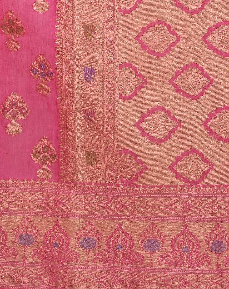 b3c485d3ed Rani Pink Chanderi Cotton Fancy Multi Banarasi Saree lightbox · lightbox ·  lightbox