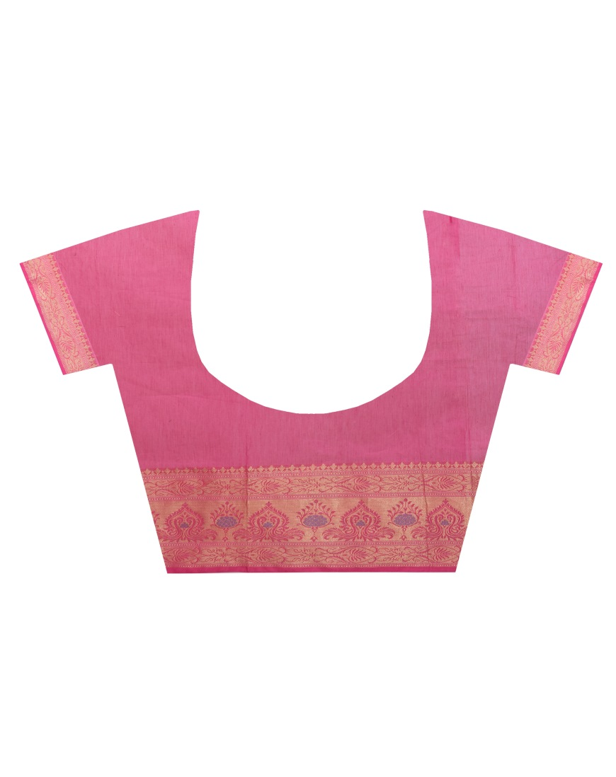 96d88b7624 Rani Pink Chanderi Cotton Fancy Multi Banarasi Saree lightbox · lightbox ·  lightbox · lightbox
