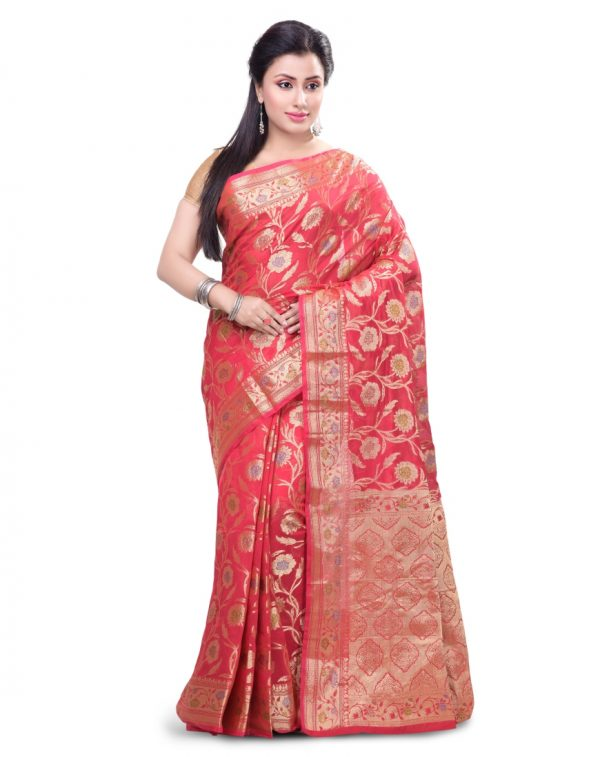Red Chanderi Cotton Fancy Multi Banarasi Saree