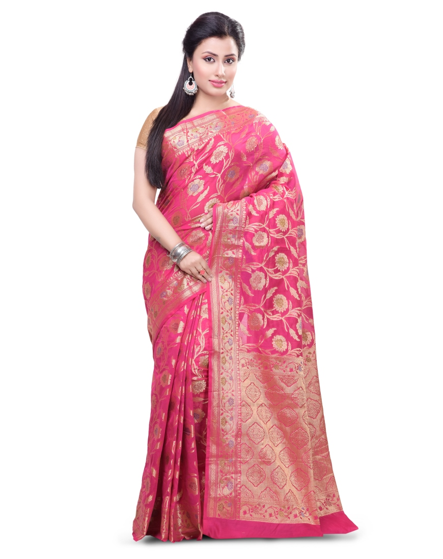 8ade1db8b1 Rani Pink Chanderi Cotton Fancy Multi Banarasi Saree