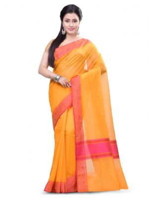 Orange Supernet Cotton Banarasi Border Saree