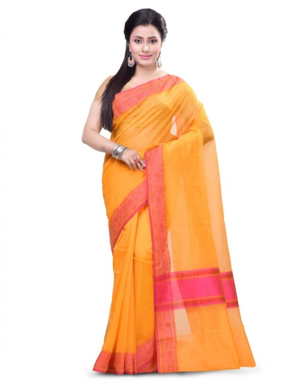 Orange Supernet Cotton Banarasi Border Saree