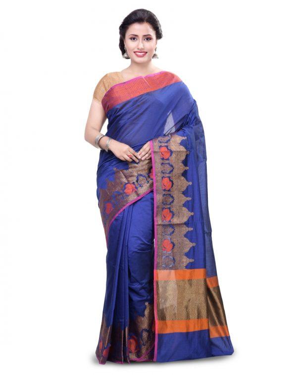 Royal Blue Chanderi Cotton Fancy Banarasi Border Saree