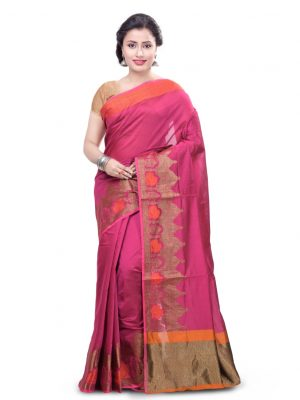 Rani Pink Chanderi Cotton Fancy Banarasi Border Saree