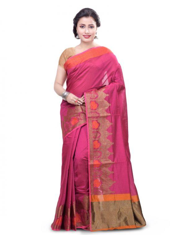 Rani Pink Chanderi Cotton Fancy Banarasi Border Saree
