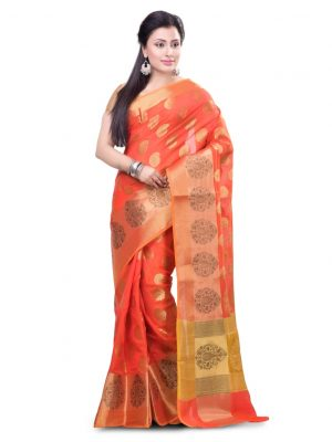 Red Cotton Blend Fancy Banarasi Zariwork Saree
