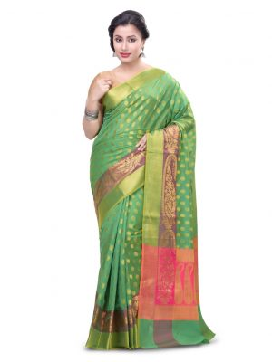 Green Cotton Blend Fancy Banarasi Zariwork Saree