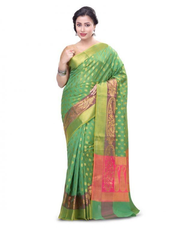Green Cotton Blend Fancy Banarasi Zariwork Saree