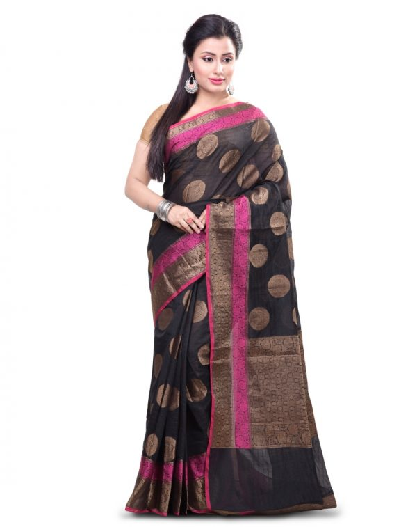 Black Chanderi Cotton Fancy Banarasi Border Saree