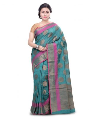 Green Chanderi Cotton Fancy Banarasi Border Saree