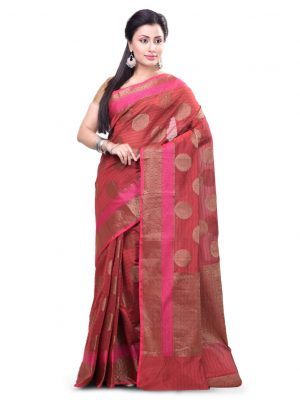Maroon Chanderi Cotton Fancy Banarasi Border Saree