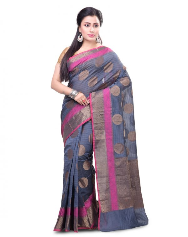 Royal Blue Chanderi Cotton Fancy Banarasi Border Saree