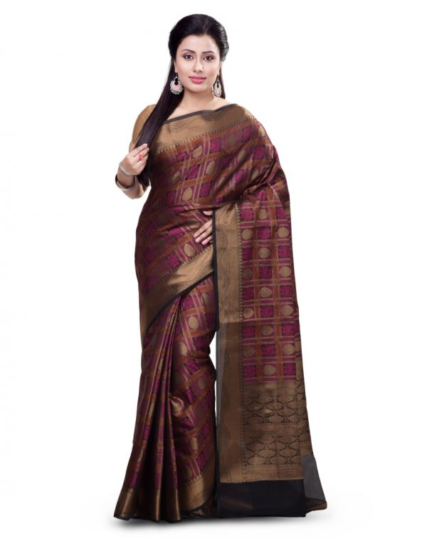 Black Organza Silk Fancy Banarasi Saree