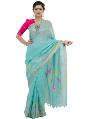 Sea Blue Khadi Cotton
