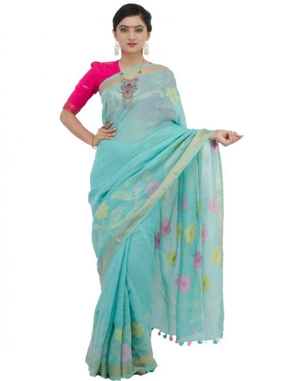 Sea Blue Khadi Cotton