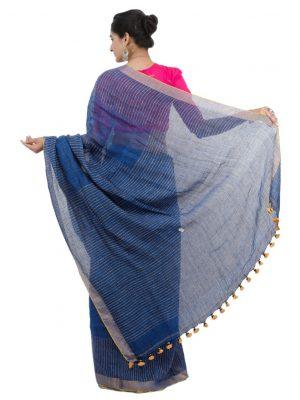 Dark Blue Katha Linen Jamadani