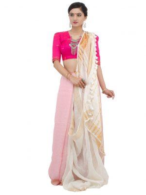 Pink Plain Linen Jamdani
