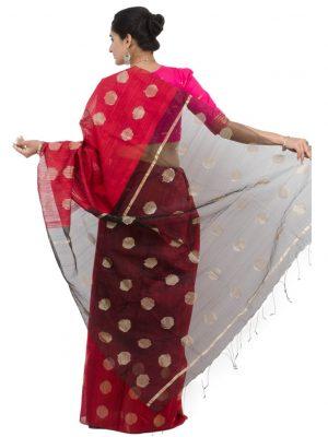 Red Matkaa Silk Linen Jamdani