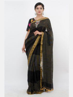 Black Katha Linen Jamdani