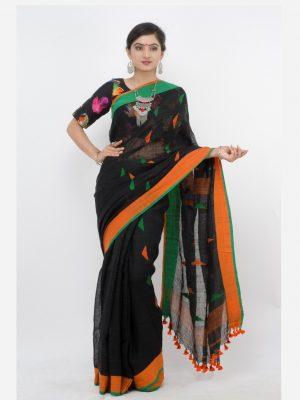 Black Linen Jamdani
